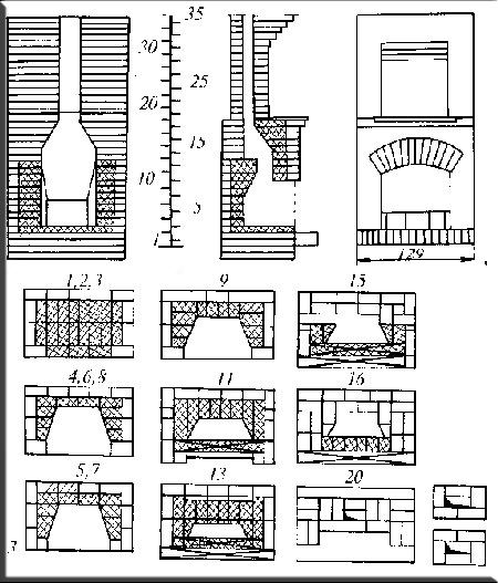 Чертежи и схемы камина расположеного в доме.